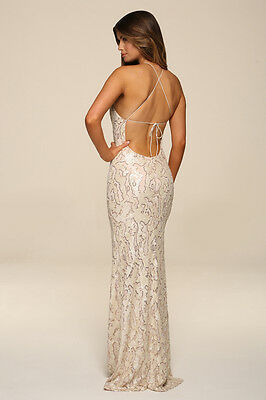... Honor Gold Harley Sequin Maxi Evening Dress Backless Design Long Ball  Prom Gown 10 711842a1c