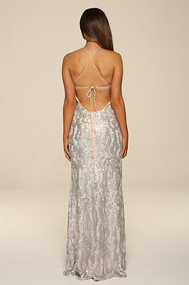 ... Honor Gold Harley Sequin Maxi Evening Dress Backless Design Long Ball  Prom Gown 8 e88be04a9