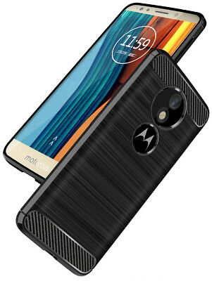 DD Carbon Fibre For Motorola Moto G6 Play TPU Rugged Gel Case Silicone Cover