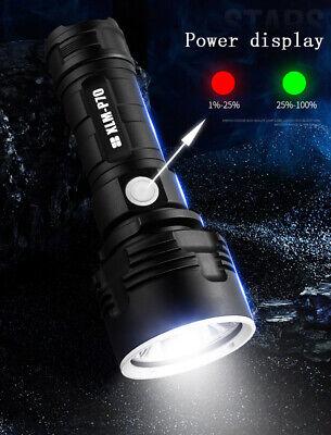 Super-bright 90000lm flashlight CREE LED P70 Tactical torch USB +5000mAh battery 8