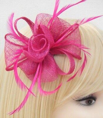 Fuchsia Pink Fascinator Brooch Clip Hair Feather Flower Wedding Ladies Day Races 10