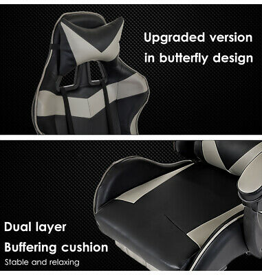 Gaming Chair Office Computer Seating Racing PU Leather Executive Racer Footrest 7