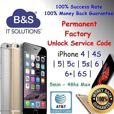 PREMIUM FACTORY UNLOCK CODE SERVICE AT&T IPHONE X 8 7 6+ 6S plus 5S 5C 4S SE ATT 2