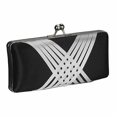 Satin Hardcase Clutch Bag Wedding Prom Party Races Evening Handbag Purse New UK
