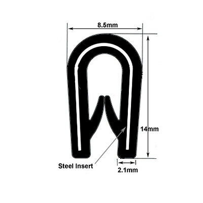 Standard black rubber car edge trim protection 14mm x 8.5mm FITS 1mm - 3mm