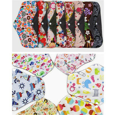 1-5x Women Menstrual Pads Reusable Panty Liners Sanitary Bamboo Washable Cloth D 9