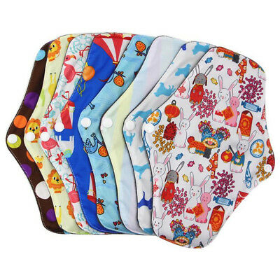 1-5x Women Menstrual Pads Reusable Panty Liners Sanitary Bamboo Washable Cloth D 4