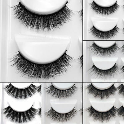 3D 5 Pairs Mink Natural Thick False Fake Eyelashes Eye Lashes Makeup Extension 2