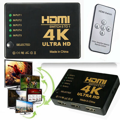 5 Port HDMI Splitter Switch Switcher Hub Box HDTV Ultra HD 4K 60Hz with Remote 3
