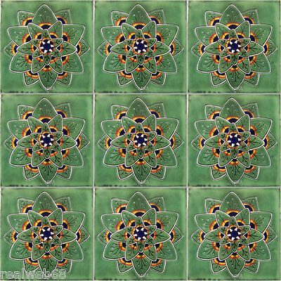 "C240 Mexican Handmade Talavera Clay Tile Folk Art 4x4/""  Handpainted"