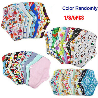1-5x Women Menstrual Pads Reusable Panty Liners Sanitary Bamboo Washable Cloth D 2