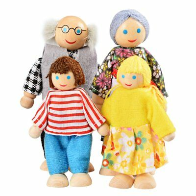 UK Wooden Furniture Dolls House Family Miniature 7 People Doll Kids Children Toy 7