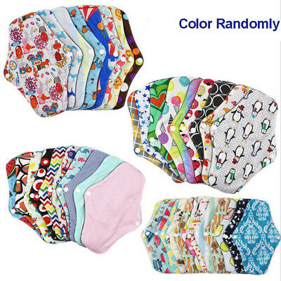 1-5x Women Menstrual Pads Reusable Panty Liners Sanitary Bamboo Washable Cloth D 3