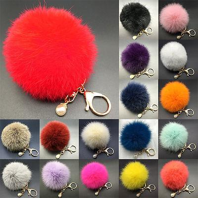 8CM Rabbit Fur Fluffy Pompom Ball Handbag Car Pendant Charm Key Chain Keyrings/ 3