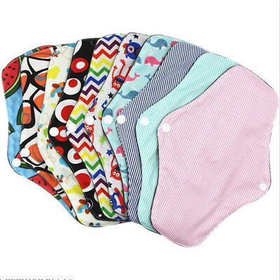 1-5x Women Menstrual Pads Reusable Panty Liners Sanitary Bamboo Washable Cloth D 6