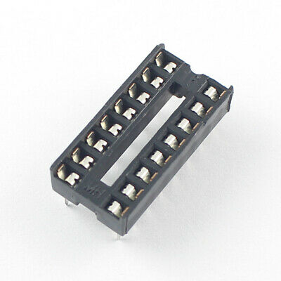 100Pcs 2.54mm Pitch 2x8 16 Pin Dual  DIP Solder Type IC Socket Adaptor Narrow 2