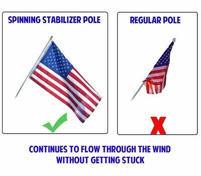 Betsy Ross 3 x 5 FT Flag Set w/ 6-Ft Spinning Flag Pole + Bracket (Tangle Free) 5