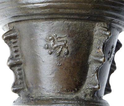 Bronze Rippen Mörser Dekor Mit Löwen Renaissance Frankreich 17. Jahrhundert 6