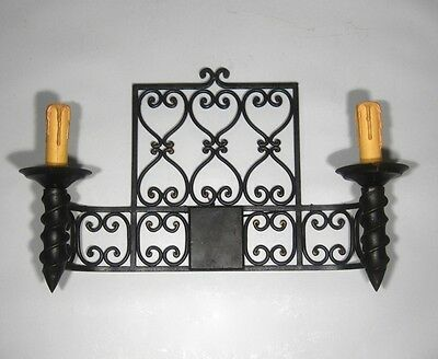 """Large Vintage French Wrought Iron Sconce, """"Chateau"""" Style, 19 x 13 inches 4"""