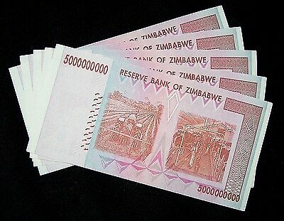 Lot of 5 ZIMBABWE 50 BILLION DOLLAR  BANK NOTES   $9.99
