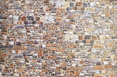 Dollhouse Miniature Old Stone Wall Weathered Aged Embossed Card 1:12 Scale 2