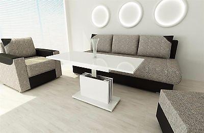 Couchtisch Hochglanz Weiss Ausziehbar Wohnzimmer Design Modern Edler