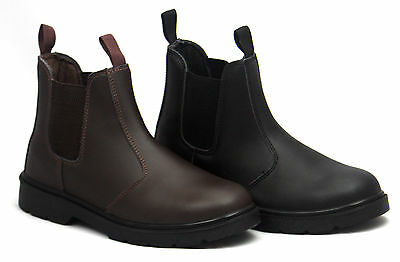 13d7b12bb11 BLACKROCK LEATHER DEALER Chelsea Slip On Steel Toe Cap Safety Work Boots  Shoes