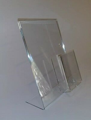 3 Clear Acrylic 8.5x11 Display Sign Holders W Vertical Brochure/Bus Card Holder 2