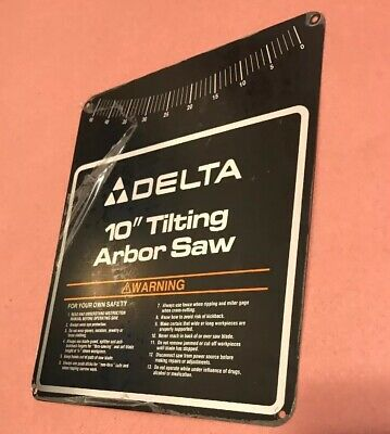 """Delta Tilting Arbor 10"""" Table Saw Nameplate for 36-750 3"""