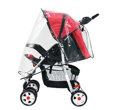 Universal Clear Waterproof Rain Cover Wind Shield Fit Most Strollers Pushchairs 3