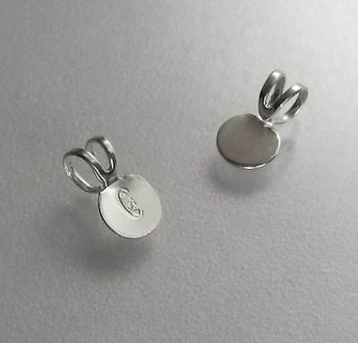 Brand New .925 Sterling Silver Glue On Disc Pad Pendant Bail Findings SF182