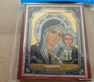 Russian wood icon Virgin of Kazan New !! Gold and Silver Foil #2kazan