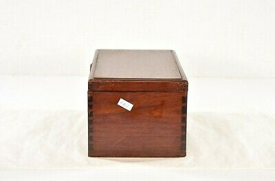 Antique Chinese Red Wooden Jewelry Box with Brass Hardware 6