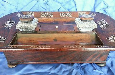 A William lV . Rosewood veneered Desk Standish / Ink well stand.Circa 1830's 9