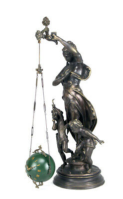 Rare Mystery Brass Lady Cherub Upside Down Chain Ball Swinger Swinging Clock 3
