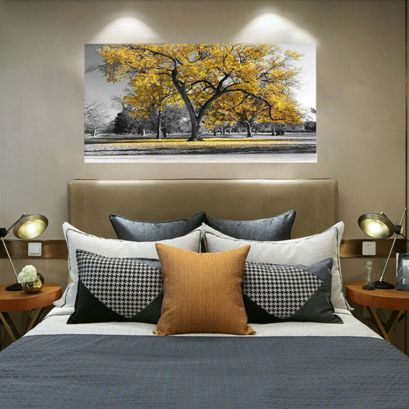 Large Tree Yellow Leaves Nature Pictures Print Canvas Wall Art Prints Unframed. 2