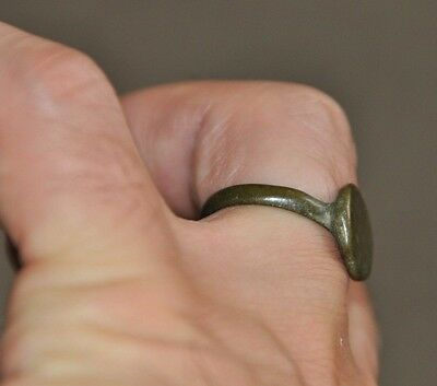 Ancient Authentic Late Roman Empire Legionary Wearable Bronze Ring Sz US 9.5 3