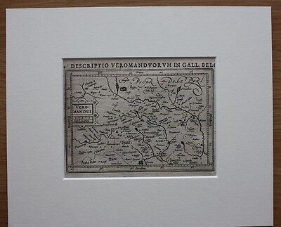 Original antique map NORTHERN FRANCE, ST QUENTIN, CHAMBRAY, Bertius, c.1616 2