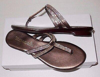 577cfa73fe044 ... ITALIAN SHOEMAKERS Made In Italy MEL BRASS Flat Thong Sandal RHINESTONES  BNIB 3