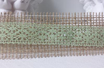 1m Spitze grün Spitzenborte Borte Schleifenband  Vintage Landhaus Spitzenband
