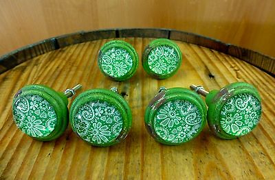 6 GREEN-WHITE LACE GLASS DRAWER CABINET PULLS KNOBS VINTAGE DISTRESSED hardware 3