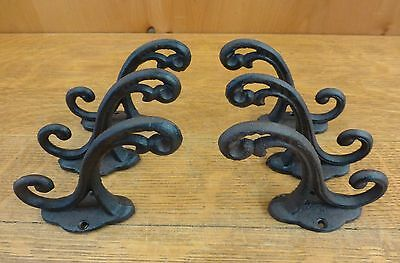 "6 BROWN RUSTIC ELEGANT VINE 5"" COAT HOOKS ANTIQUE-STYLE CAST IRON wall hardware"