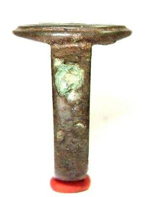 Ancient Rare Medieval bronze pseudo heraldry finger ring seal 5
