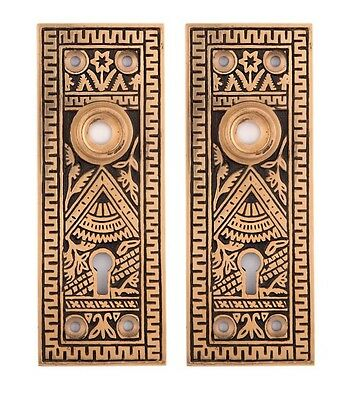 Oriental Decorative Door Back Plates For Doorknobs Bronze 2 • CAD $94.07