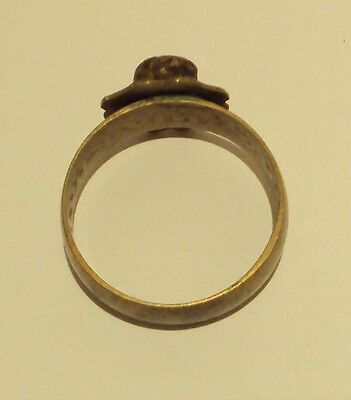 VINTAGE NICE BRONZE RING WITH RED STONE FROM THE EARLY 20th CENTURY # 909 5
