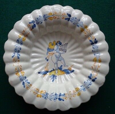 Rare Antique Nevers France Faience 17th Century Lobbed Bowl Putti & Pan Flute 2