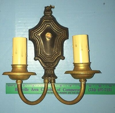 Brass Wired Pair Antique Sconces Vintage Electric Candles 5