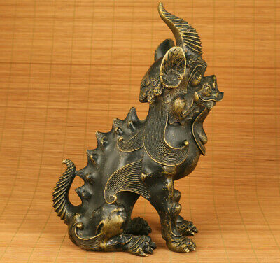 Big Antique bronze hand carved unicorn statue collectable home decoration 3
