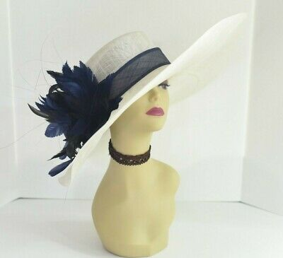 Kentucky Derby Church Wedding Royal Ascot Wide Brim Sinamay Hat Peach M58