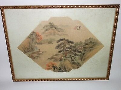 Rare Antique Chinese Fan Original Painting on Silk Fantastic Country Landscape 9